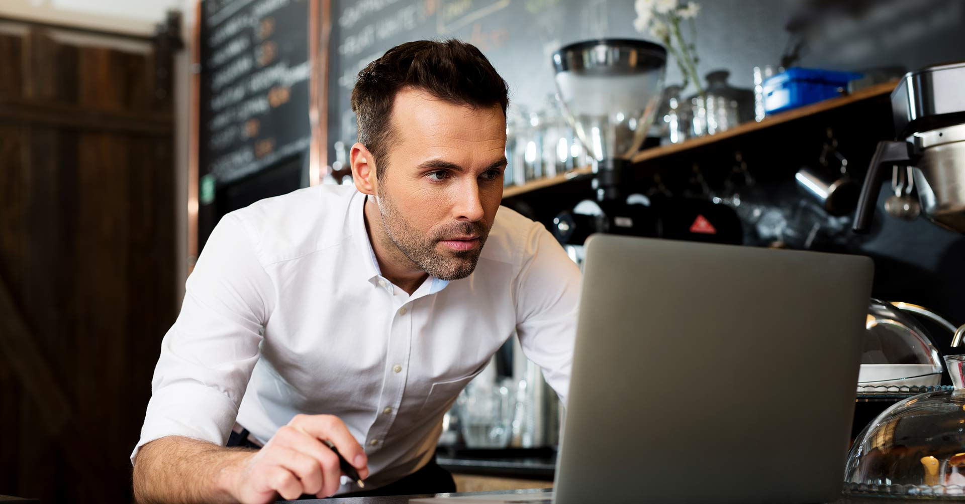 Business Person Checking reviews