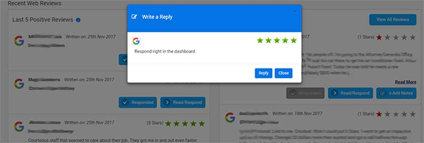 Respond to reviews from the dashbord